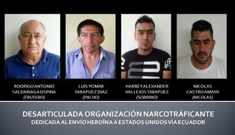 Cayeron 'Los Cuyes', red que contrabandeaba heroína a Estados Unidos por medio de Ecuador