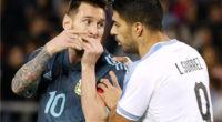 Con Messi y con Suárez, Argentina y Uruguay empataron 2-2 en el clásico de La Plata