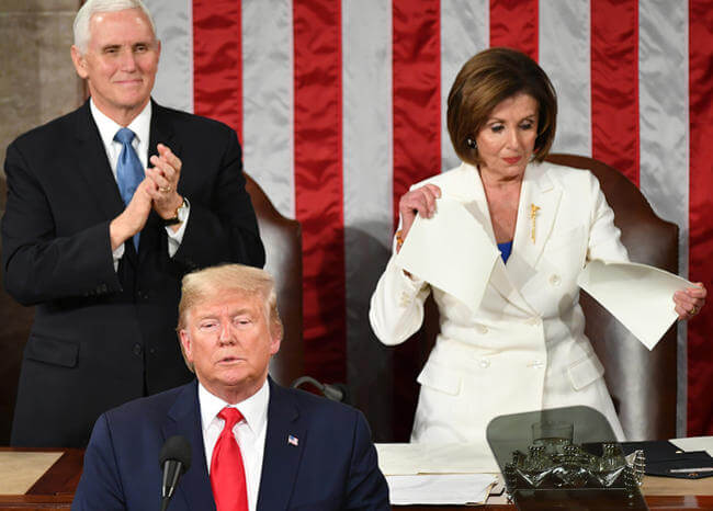 Video: Nancy Pelosi rompió el discurso de Trump ante pleno Congreso de EE.UU.