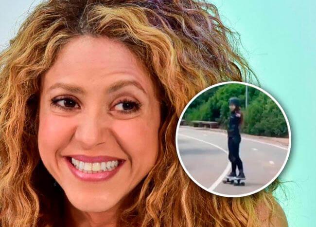 Era esto o cerámica: Shakira se montó en una patineta en una pendiente y así le fue