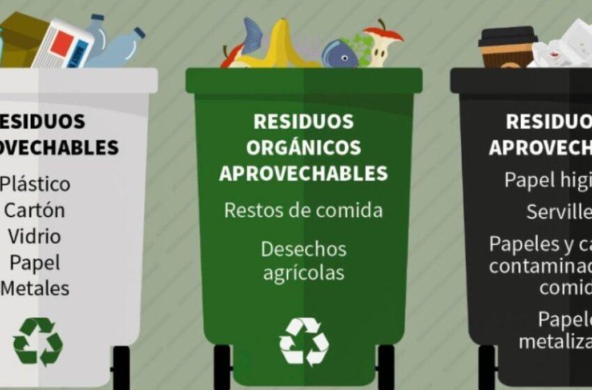Código de colores para separar basuras y reciclaje: blanco, negro y verde